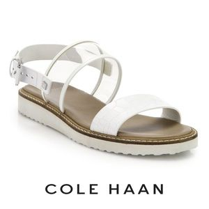 Cole Haan White Croc-embossed Leather Clear Sandal
